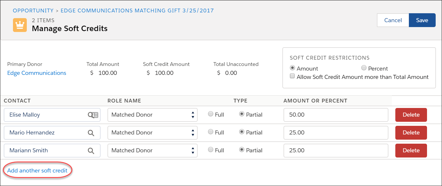 Add another soft credit button on Manage Soft Credits screen
