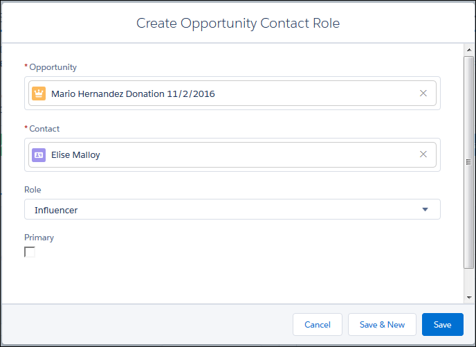 Screenshot of Create Opportunity Contact Role screen