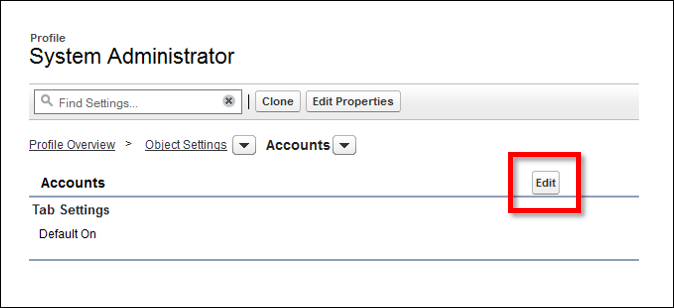 Edit button in the Accounts settings screen