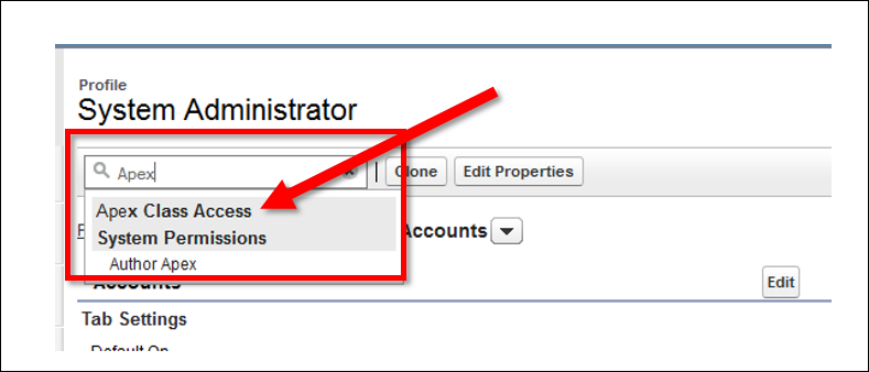 Selecting Apex Class Access from the Find Settings box