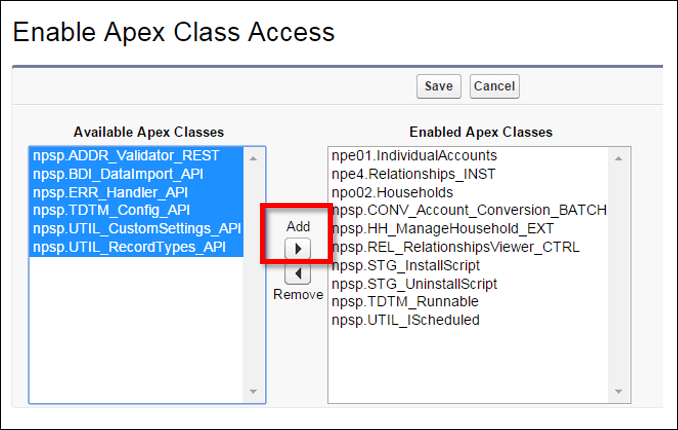 Enable Apex Class Access edit screen