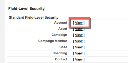 Field-Level Security section of a profile page