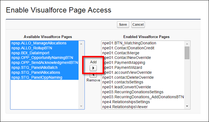Enable Visualforce Page Access edit screen