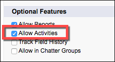 Under Optional Features, select Allow Activities