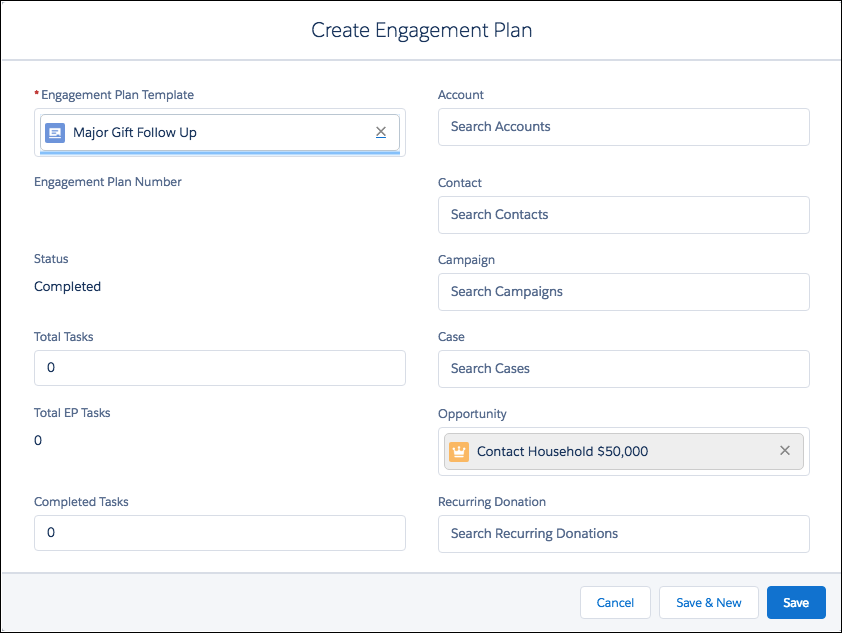 Create Engagement Plan screen with an automatically populated Opportunity record
