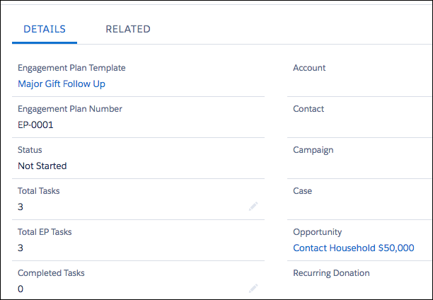 The tasks from the template appear on the Engagement Plan record with the appropriate information