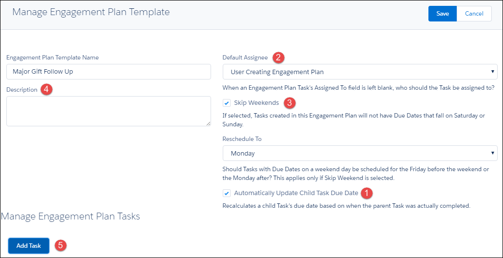Manage Engagement Plan Template screen