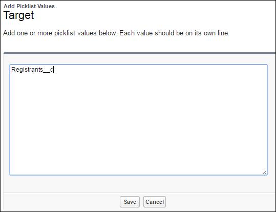 API name of Registrants__c as a picklist value