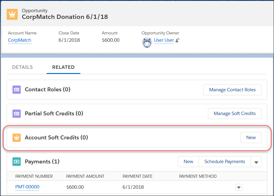 Showing an Opportunity record with the Account Soft Credits related list highlighted.