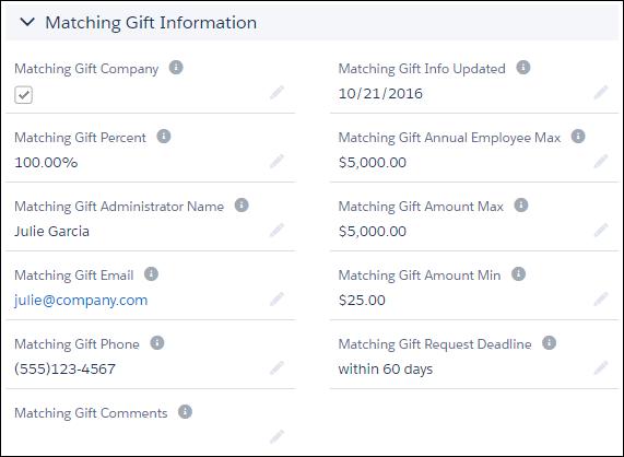 Matching Gift Information screen