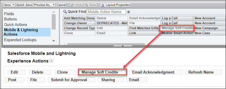 Add the Manage Soft Credits button to the Salesforce Mobile & Lightning Experience Actions section