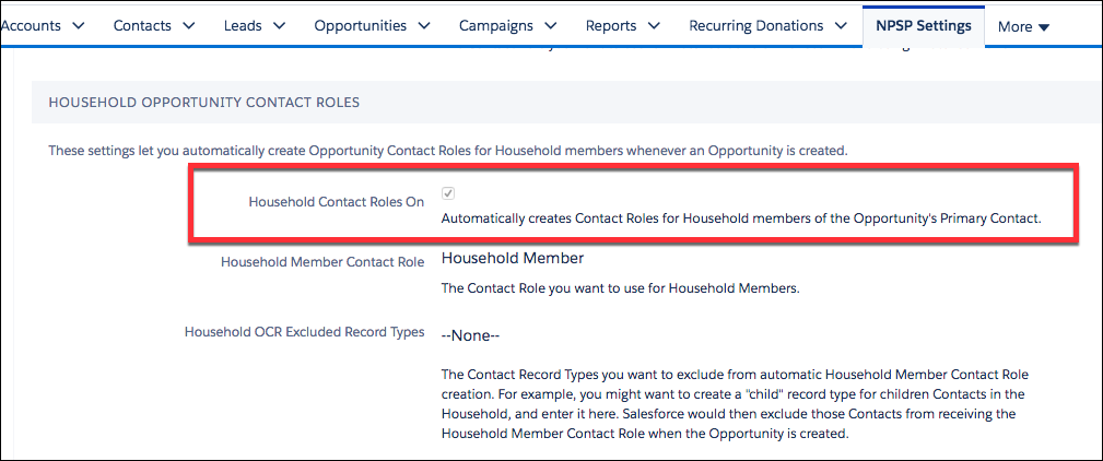 Household Contact Roles On checkbox