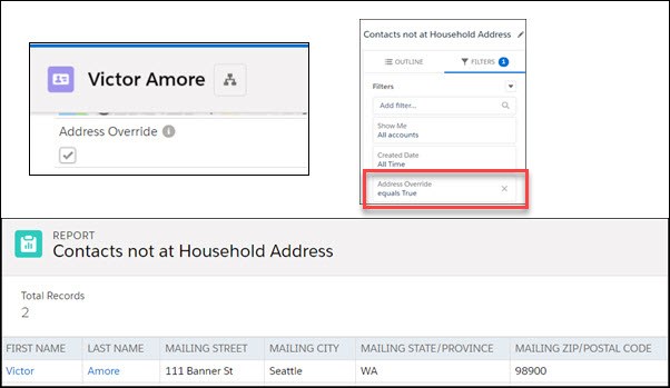 Mailing label report for Contacts with Address Override selected on the Contact record. Shows the report filter of Address Override = true.