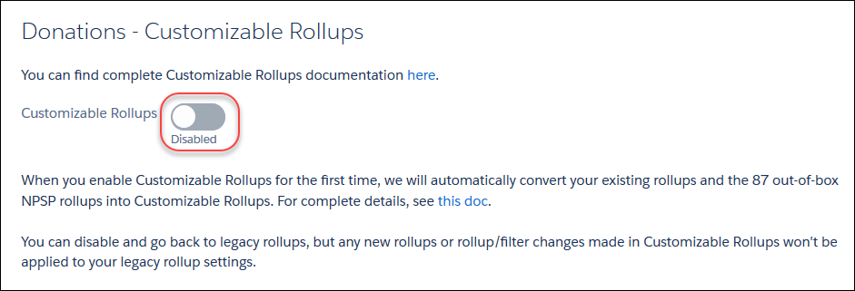 The Customizable Rollups page in NPSP Settings, with the toggle to Enable Customizable Rollups highlighted.