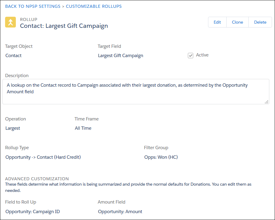 A new rollup for Largest Gift Campaign on the Contact object.