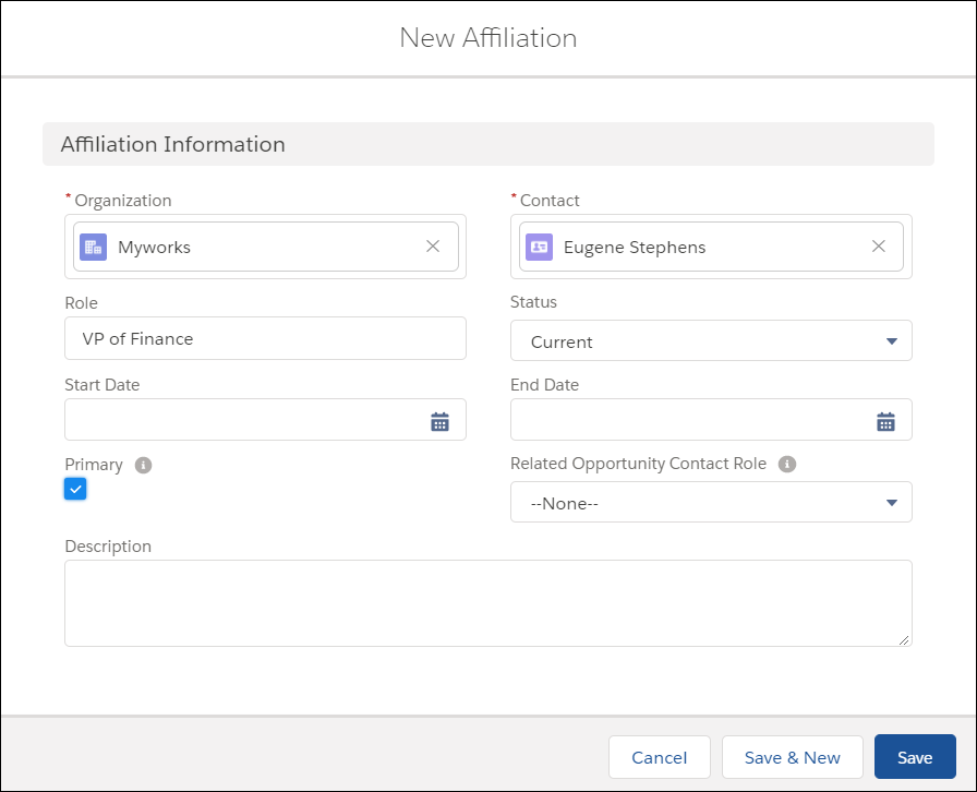 Create Affiliation window